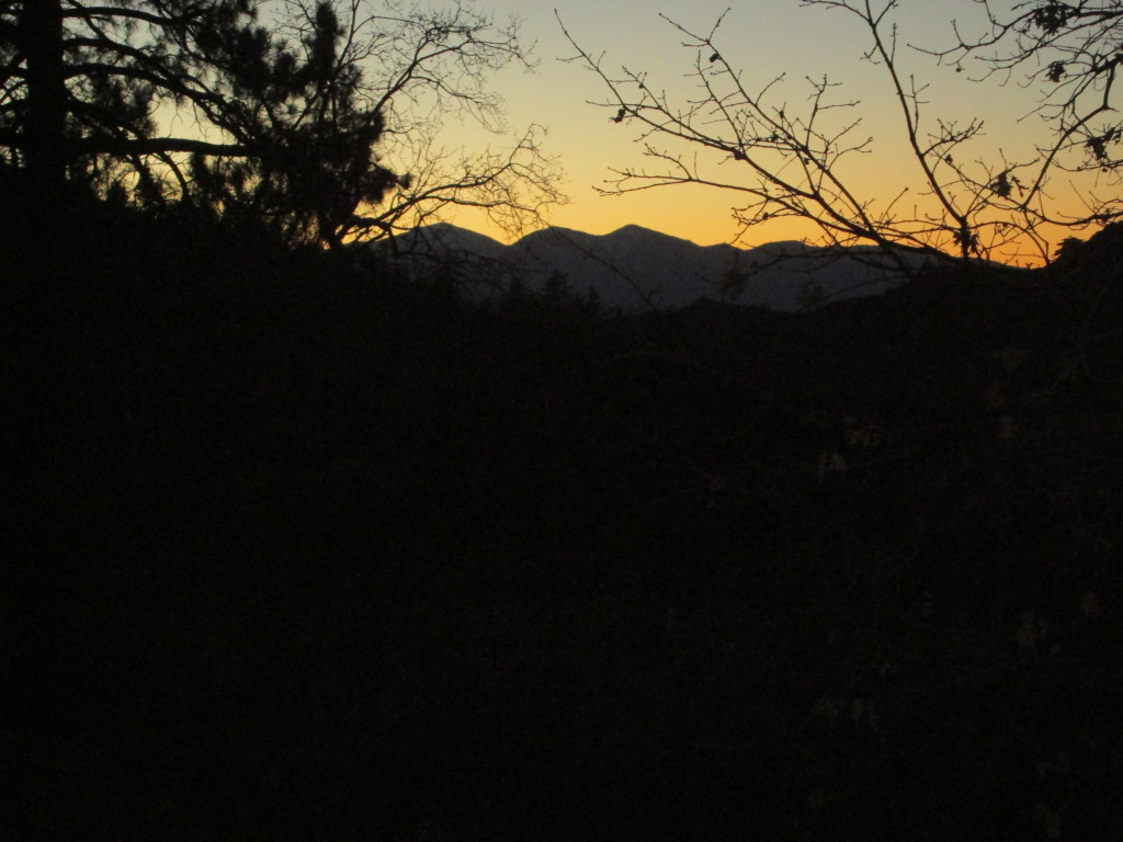 An orange tinged sunset up in the San Bernardino Mountains.